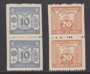 Paraguay San 73b, 75b MNH. 1935 Vertical Pairs, Imperf Vertically