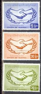 Burma Sc# 190-192 MNH 1965 ITU 100th