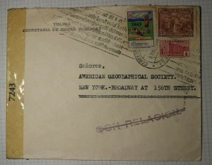 Colombia Public Works Official Tolima Conrelacion Postal Marking 1943 Cover