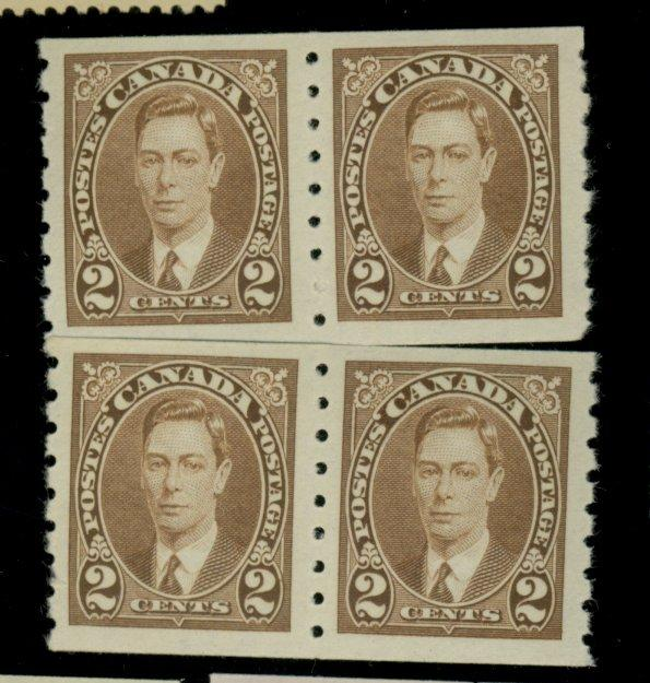 Canada #239 (2) MINT Pairs VF OG 1 NH 1  LH Cat$26.50