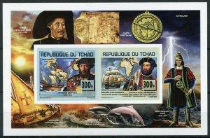 Chad 2013 MNH Explorers Vespucci Vasco da Gama 2v Deluxe IMPF M/S Ships Stamps