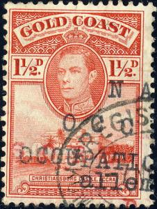 GOLD COAST - 1940 - SG 122a - KGVI 1 1/2d SCARLET p.12x11 1/2 VF Used ACCRA
