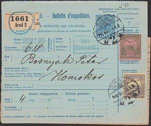 HUNGARY 1916 parcel card ex Arad............................................K334