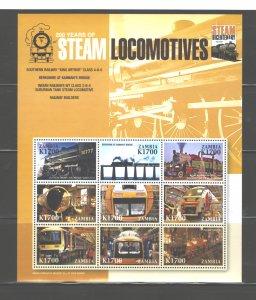 ZAMBIA 2005 TRAINS MS.#1073  MNH