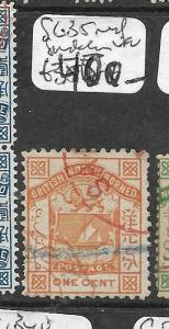 NORTH BORNEO (P3103B)  ARMS, LION  1C SG 35  SCARCE PERF RED SANDAKAN VFU