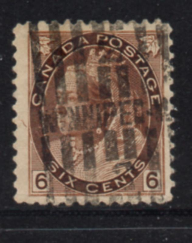 Canada Sc 80 1898 6c brown Victoria numeral issue stamp used
