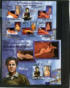 GUINEA BISSAU 2010 PAINTINGS BY AMEDEO MODIGLIANI SHEET OF 5 STAMPS & S/S MNH