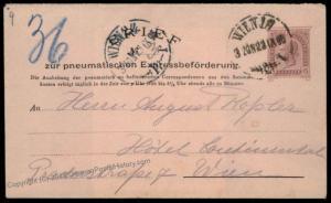 Austria Empire 1895 Rohrpost Pneumatic Mail Postal Stationery Envelope 67174