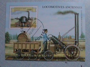 REPUBLIC OF BENIN: ANCIENT LOCOMOTIVES: STEAM TRAIN SOUVENIR SHEET, CTO SHEET