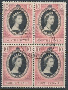 North Borneo SG 371 SC# 260 Coronation  Used block  see details
