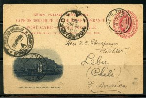 SOUTH AFRICA CAPE TOWN 3/14/1906 PS CARD TO LEBU, CHILE 4/25/1906 AS SHOWN (V)