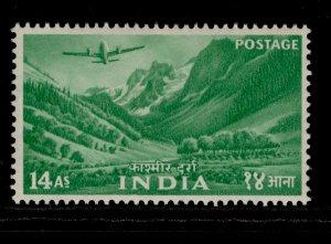 INDIA QEII SG365, 14a bright green, LH MINT.