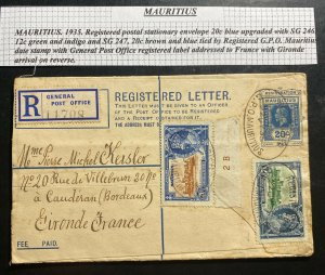 1935 Mauritius Stationery Registered Letter Cover To Gironde France