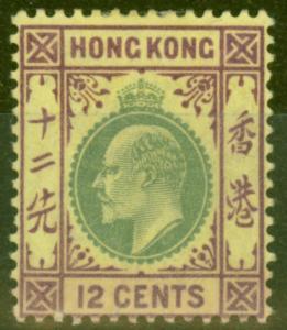 Hong Kong 1903 12c Green & Purple Yellow SG68 Fine Mtd Mint