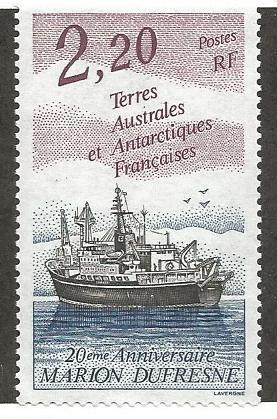 FRENCH SOUTHERN & ANTARCTIC TERRITORY 184, MNH, RESEARCH SHIP MARION DUFRESNE...