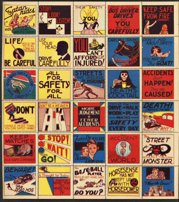 1930s Insurance Company Safety Poster Stamps ( SHEET OF 30 )