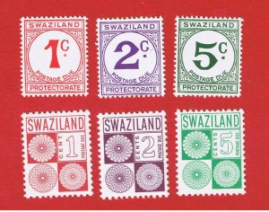Swaziland #J7-J12  MNH OG  Postage Due   Free S/H