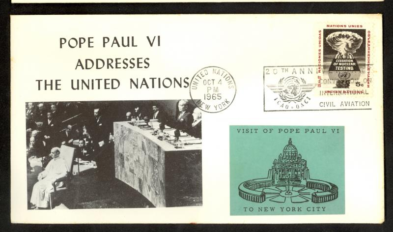 UNITED NATIONS 1965 POPE PAUL VI ADDRESSES UN CACHET COEVR Sc 133