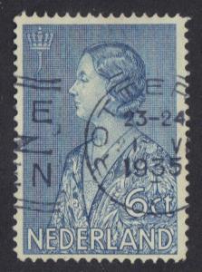 Netherlands  #B71  used  1934  Queen Wilhelmina 6c