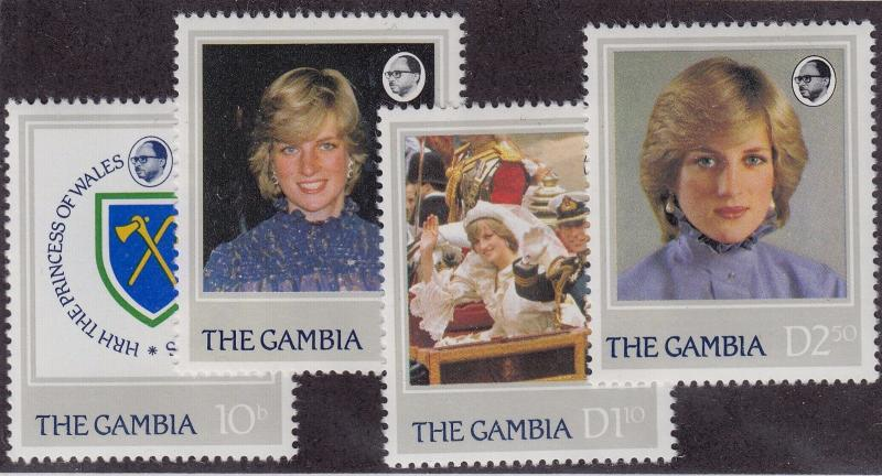 GAMBIA MNH Scott # 447-450 Princess Di (4 Stamps)