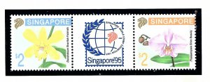 Singapore 616a MNH 1992 Flowers pair with label         (KA)