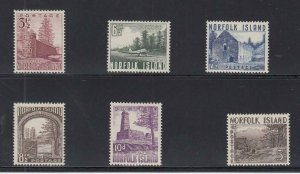NORFOLK ISLAND (MM231) # 13-18 VF-MNH  VARp,sh  1953 LANDMARK DESIGNS CV $50