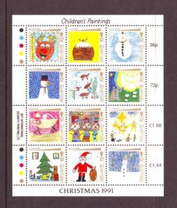 Guernsey Sc 464 1991 Christmas Childrens Paintings stamp sheet mint NH