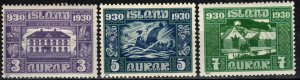 Iceland  #152-4 F-VF Unused CV $10.75 (X2182)