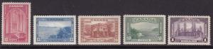 Canada 1938 KGVI Views. Scott 241-245 Complete (5) in XF/NH/(**) Condition.