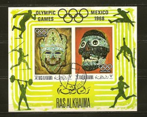 Ras al Khaima Mexico Olympics 1968 Souvenir Sheet CTO