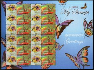 India 2014 Greetings Butterfly Insect My Stamp Sheetlet MNH # 30SH
