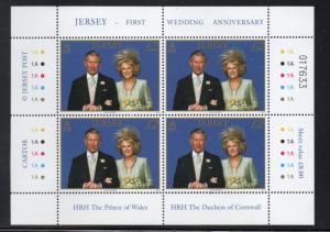 Jersey Sc 1214 2006 Royal Wedding Pr Charles stamp pane of 4 mint NH