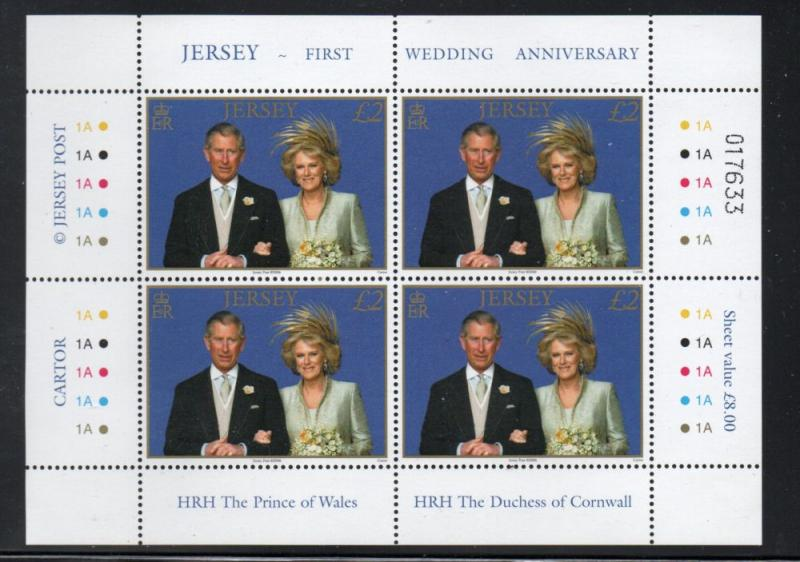 Jersey Sc 1214 2006 Royal Wedding Pr Charles stamp pane of 4 mint NH