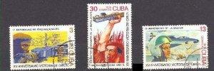 CUBA Sc# 2056-2058  BAY OF PIGS revolution CPL SET of 3   1976  used /  cto