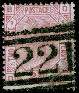 SG141, 2½d rosy mauve PLATE 9, USED. Cat £80. DB