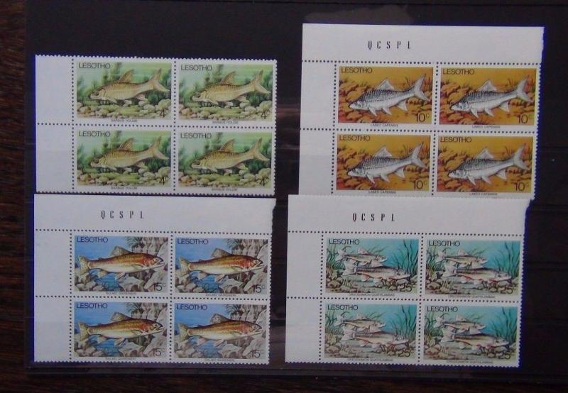 Lesotho 1977 Fish set in block x 4 MNH