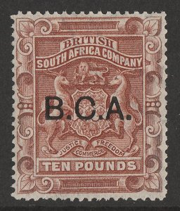 BRITISH CENTRAL AFRICA : 1891 BCA opt Arms £10. RARE with CERTIFICATE.