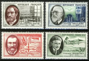 France 1957, French inventor and scientist set VF MNH, Mi 1124-27 cat 4€