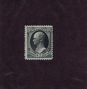 SC# 154 ORIGINAL GUM XLH 30 CENT HAMILTON, 1870, 2018 PF CERT PHOTOCOPY, HIGH CV