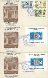 COSTA RICA NATL PHIL EXHIB,INVERTED CENTER STAMP 1901,EMBLEMS Sc C669-C672 FDC