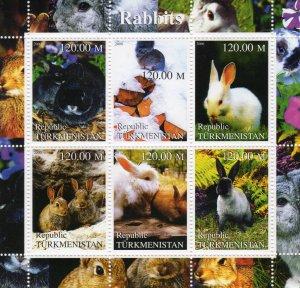 Turkmenistan 2000  RABBITS - SMALL MAMMALS Sheetlet (6) MNH