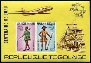 HERRICKSTAMP TOGO Sc.# C223A 1974 UPU Rouletted Stamp S/S Scott $40.00