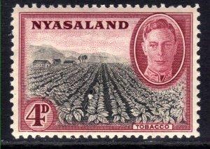 Nyasaland 1945 KGV1 4d Black & Claret Umm SG 149 ( B1386 )