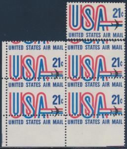 #C81 VAR. 21¢ USA JETLINER WITH MAJOR PERF SHIFT ERROR BLOCK OF 4 BT2461