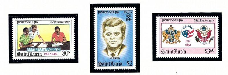 St Lucia 843-45 MNH 1986 Peace Corps (KA)