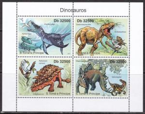 Sao Tome and Principe, Fauna, Dinosaurs. MNH / 2011
