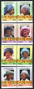 Tuvalu. 1985. 53-60. Queen Mother, Royal Dynasty of Great Britain. MNH.