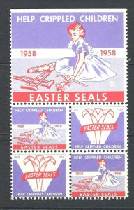 JASTAMPS:RARE Vintage 1958 US Easter Charity Seals Stamps TERRIFIC BLOCK!