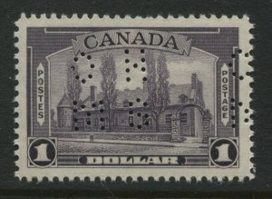 Canada 1938 $1 perforated 4 hole OHMS unmounted mint NH