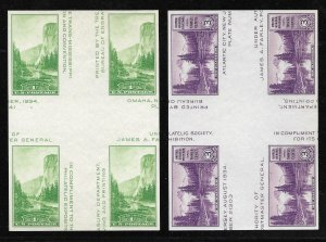 Doyle's_Stamps: MNH 1935 National Parks Special Printing Crossed Gutter Blocks